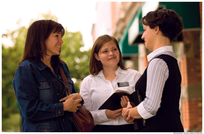 Mormon missionaries teach about Jesus Christ.