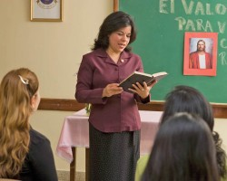 A Mormon Woman Teaching a Class