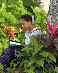 A Polynesian Mormon Woman Reading