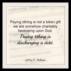 Mormon tithing slip with a quote about tithing from Jeffrey Holland juxtaposed over it.